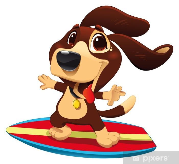 Vinilo para Nevera Perro con el surf. Divertido de la historieta y el carácter deportivo de vectores - Vinilo para pared