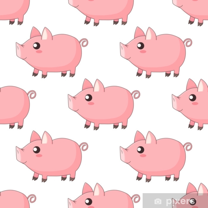 Cute Cartoon Kawaii Piglets Piggy Standing In Profile On White Background Wall Mural Pixers We Live To Change