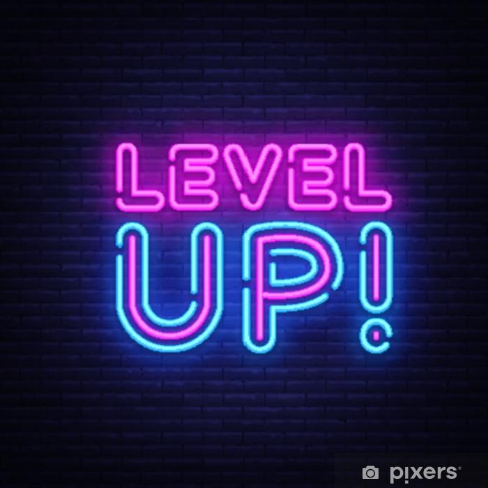 Vinyl Fotobehang Niveau omhoog neon tekst vector. niveau omhoog neon teken, ontwerpsjabloon, modern trendontwerp, nacht neon uithangbord, nacht heldere reclame, lichte banner, licht kunst. vectorillustratie - Grafische Bronnen