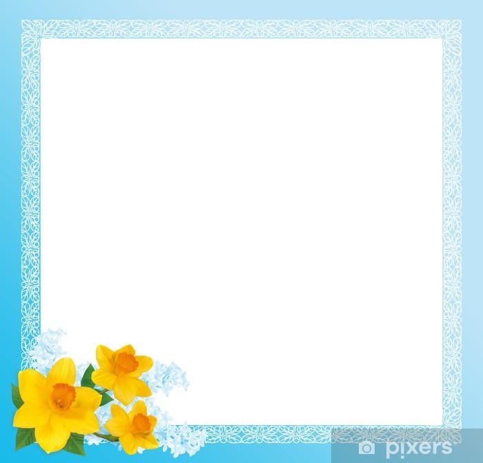 Poster Художественная рамка голубая с нарциссами - Zeichen und Symbole