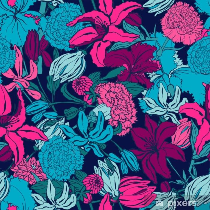 Naklejka Pixerstick Wzór z lilii, ylang, róże, kwiaty goździka. kolorowa wektorowa ilustracja. drukuj na tekstylia domowe i odzież, tkaniny, tekstylia - Zasoby graficzne