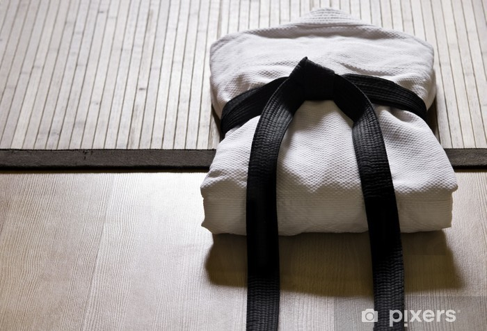 judo gi with black belt Pixerstick Sticker - Martial arts
