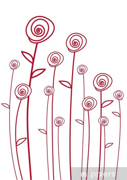 Pixerstick Sticker Rode rozen, vector -