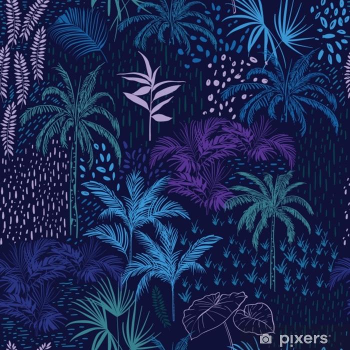 Fototapeta zmywalna Wektor wzór monotonia niebieski las na letnie tropikalne wydruki miesza się z kolorowym - Zasoby graficzne