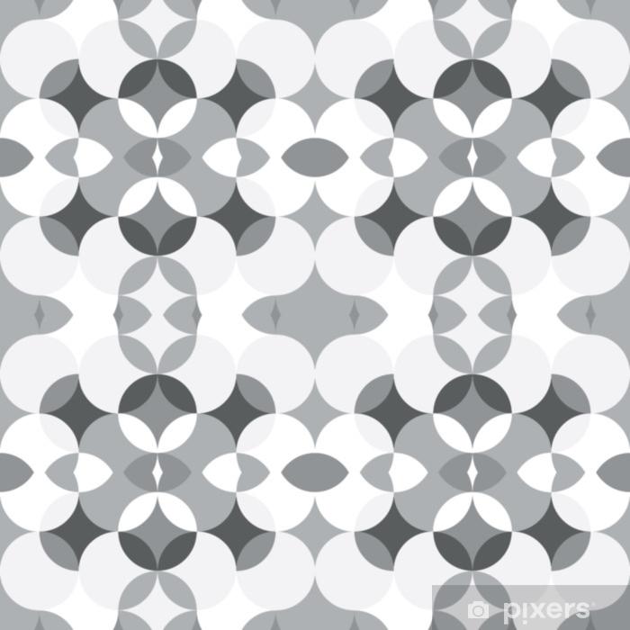 Pixerstick Sticker Abstract floral geometrische naadloze patroon. caleidoscopische, licht witte en grijs gekleurde vormen. - Grafische Bronnen