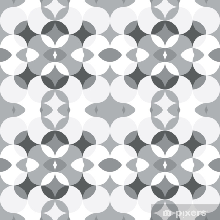 Abstract floral geometric seamless pattern . Kaleidoscopic, light white and grey colored shapes. Washable Wall Mural - Graphic Resources