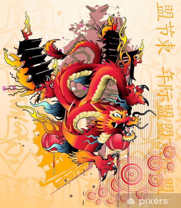 Papier peint vinyle Vecteur de dragon japonais - Thèmes