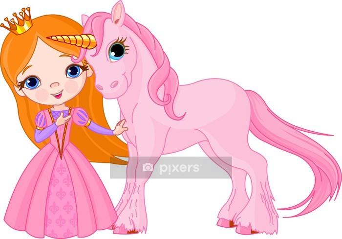 Sticker mural Belle princesse et la licorne - Sticker mural