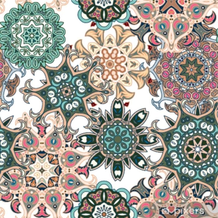 Foto Op Behang Printen.Fotobehang Naadloos Veelkleurig Patroon Met Oosterse Mandala S