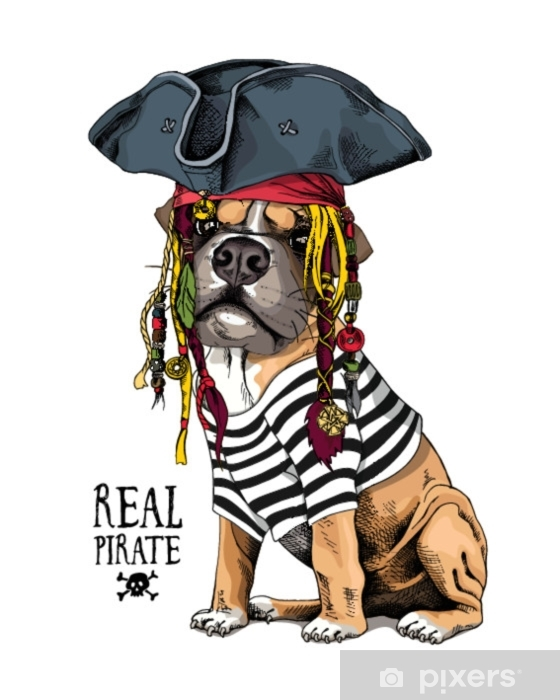 Vector Illustration With Boxer Dog In A Striped Cardigan Captain
