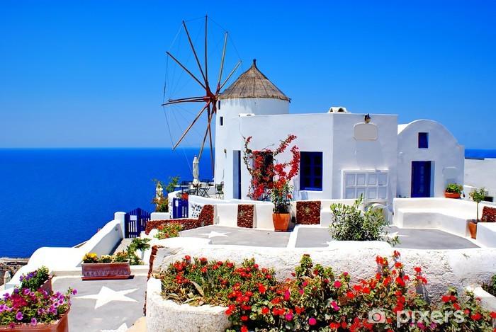 Vinil Duvar Resmi Santorini adasında, Yunanistan üzerinde fırıldak - Santoron