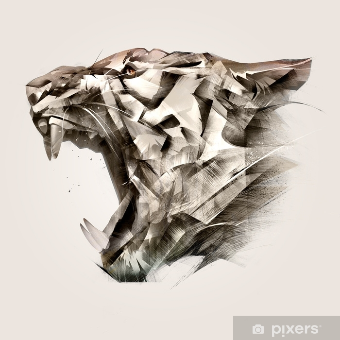 painted portrait of animal tiger muzzle side Vinyl Wall Mural - Hobbies and Leisure