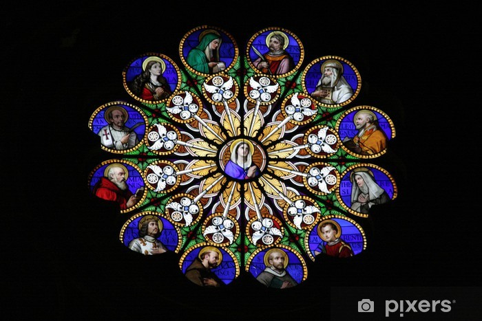 Fototapeta winylowa Szkło barwione rozeta - Religie