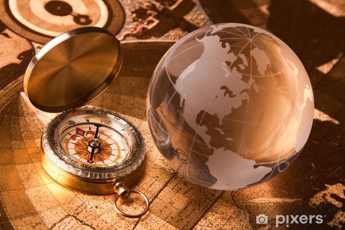 Adesivo Bussola Vecchio e globo • Pixers® - Viviamo per il ...