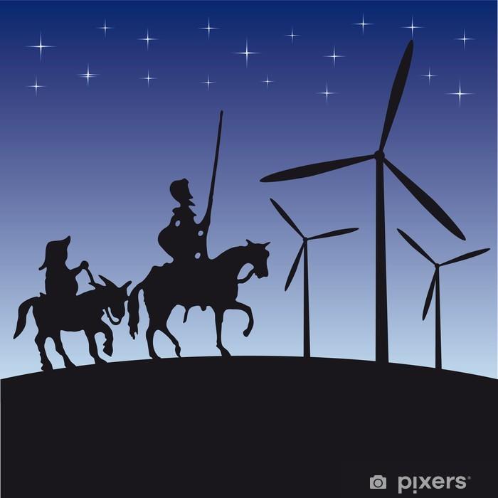 Papier peint vinyle Don Quijote silhouette illustration de bande dessinée - Chevaliers