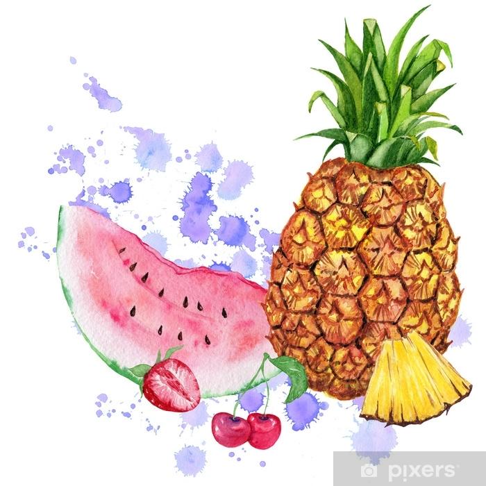 Sulu Boya Meyve Karisimi Ananas Karpuz Ve Meyveler Kagit