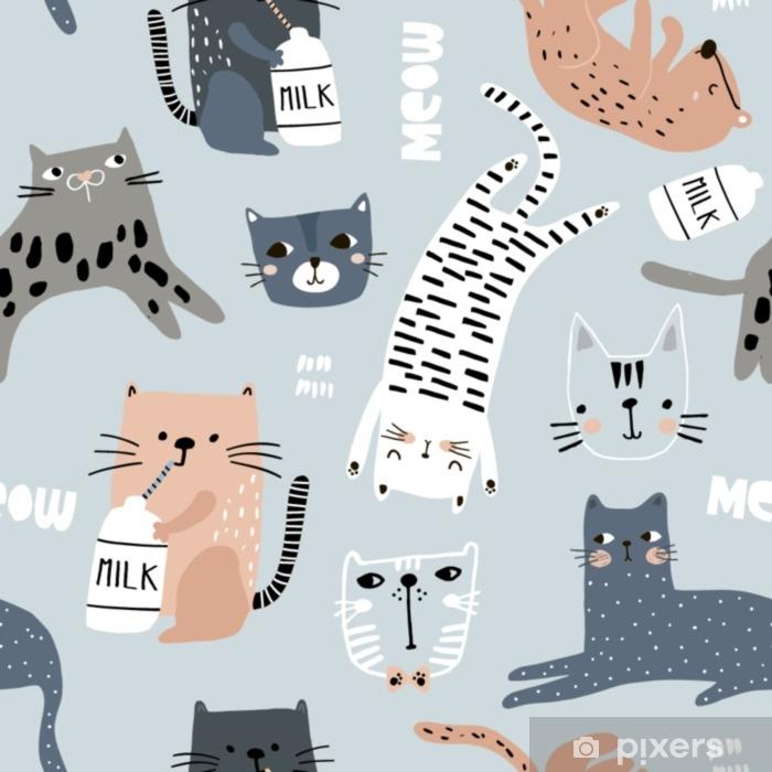 Seitenschläferkissen Nahtloses Muster mit verschiedenen lustigen Katzen. kreative kindliche Textur. ideal für stoff, textil-vektor-illustration - Grafische Elemente