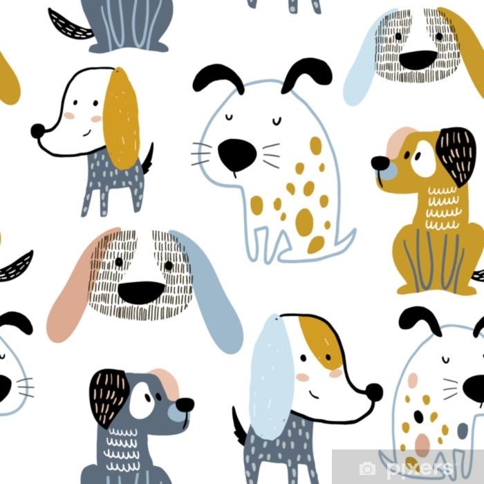 9ee9c3219 Pixerstick-klistremerke Barnlig sømløs mønster med morsomme kreative  hunder. trendy skandinavisk vektor bakgrunn. perfekt for barneklær, stoff,  ...