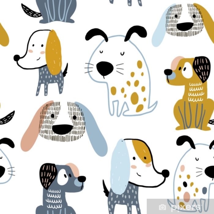 Childish Seamless Pattern With Funny Creative Dogs Trendy Scandinavian Vector Background Perfect For Kids Apparel Fabric Textile Nursery Decoration Wrapping Paper Wall Mural Pixers We Live To Change