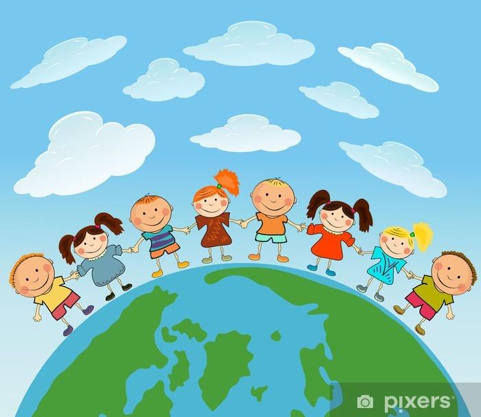 Papier peint vinyle Terre de dessin animé avec des enfants - Destin