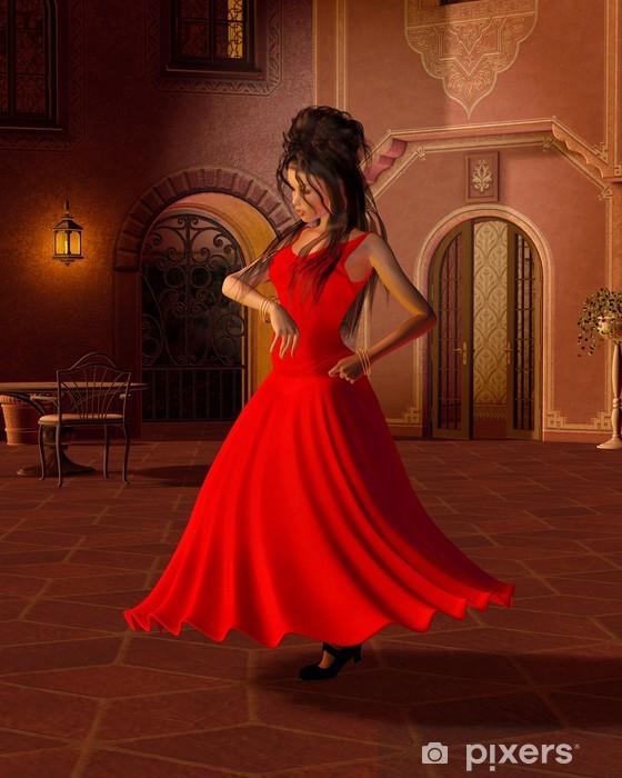 Fototapeta winylowa Młoda tancerka flamenco w hiszpańskiej Courtyard - Tematy