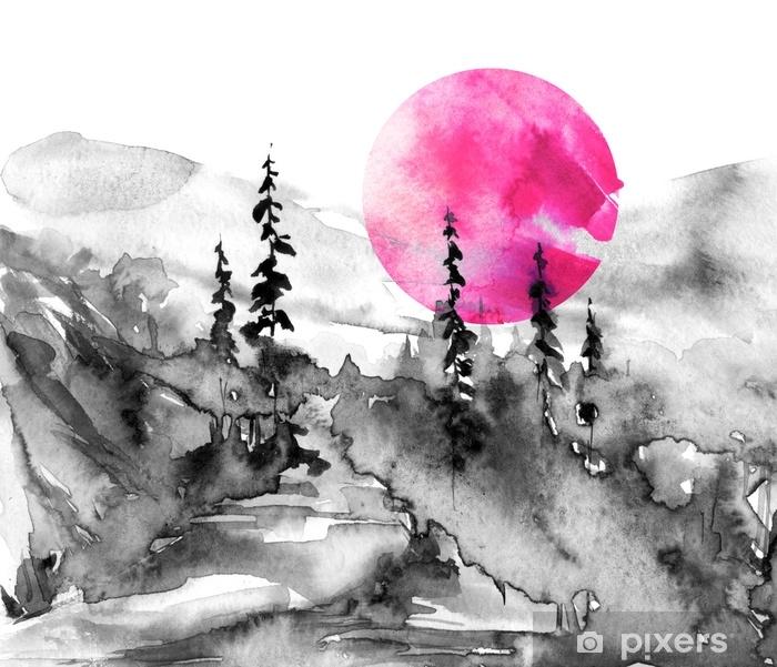 Mural De Parede Pintura Aquarela Natureza Montanhas Campo