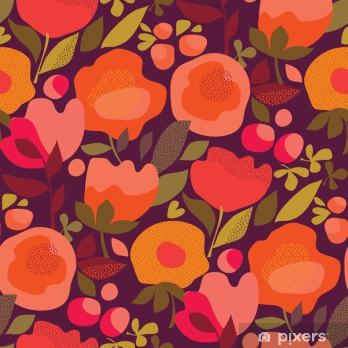 Pixerstick Sticker Herfst abstract floral oranje naadloze patroon. - Grafische Bronnen