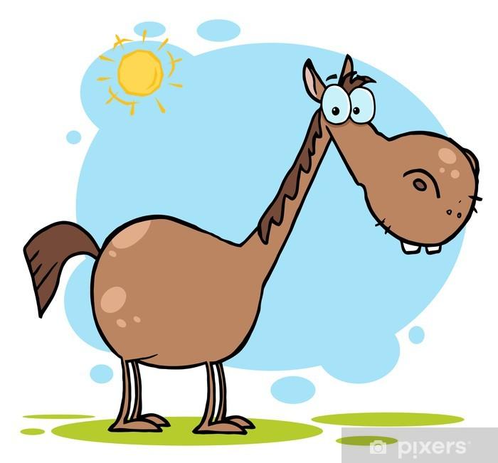 Vinyl Fotobehang Bruin paard met een lange nek In The Sunshine - Landbouw