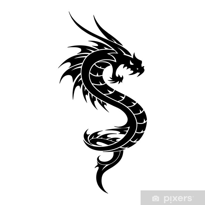 Vinylová fototapeta Tetování Dragon vektorové ilustrace - Vinylová fototapeta