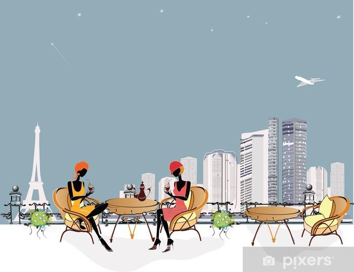 Papier peint vinyle 2 filles le Chat dans le restaurant - Paysages urbains
