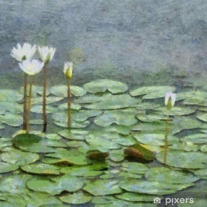 Fotomural Autoadhesivo Dibujo a mano en acuarela sobre lienzo. Gran impresión artística. Pintura moderna original. Fondo de acrílico del cepillo seco. Flor de lirio verde en el agua del lago. - Plantas y flores