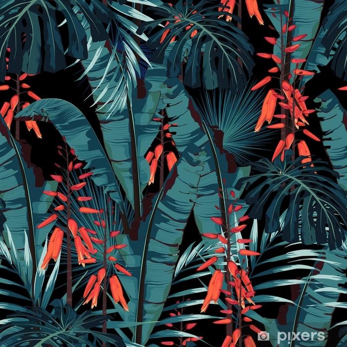 Naklejka Pixerstick Wzór bez szwu kwiatowy wzór w stylu akwareli: soczyste w rozkwicie z pomarańczowymi kwiatami i liśćmi palm i bananów. nowoczesny, jasny wzór druku letniego. wydruk na czarnym tle. - Rośliny i kwiaty