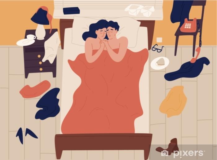 Seks Ve Sarilma Sonra Birlikte Yatakta Yatarken Sevimli Romantik Cift Giyim Dagilmis Genc Erkek Ve Kadinin Yakin Ya Da Cinsel Iliskisi Renkli Vektor Cizim Duz Cizgi Film Tarzi Duvar Resmi Pixers