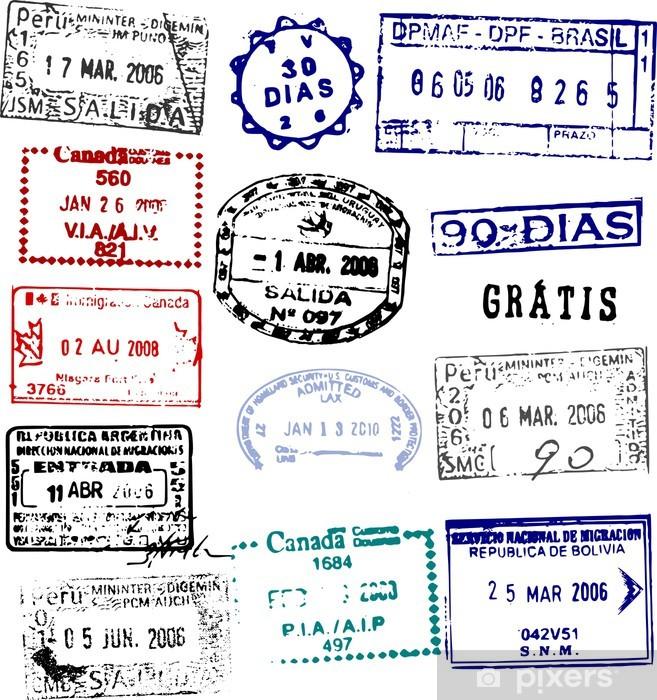 Fototapeta winylowa Znaczki paszportowe wektorowe z Ameryki - Ameryka