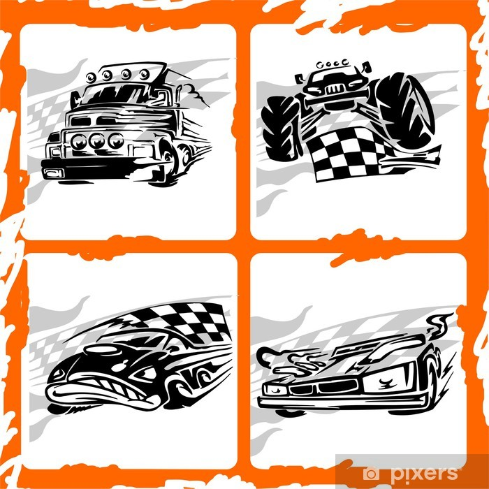 Poster Tribal Racing Car. - Straßenverkehr