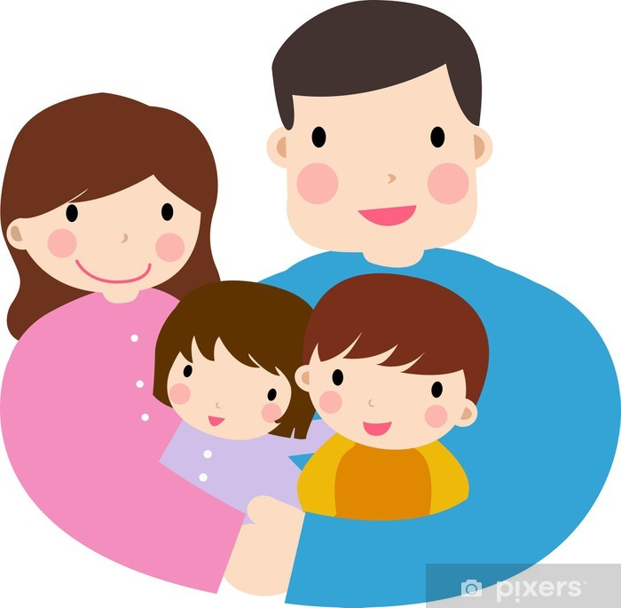 Family with Two Kids/ai Sticker - Pixerstick