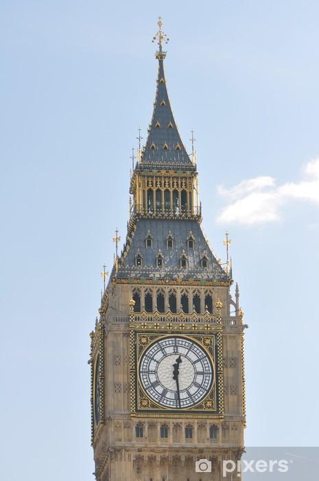 Papier peint vinyle Big Ben fleuri tour et horloge visage à Londres Royaume-Uni - Vacances