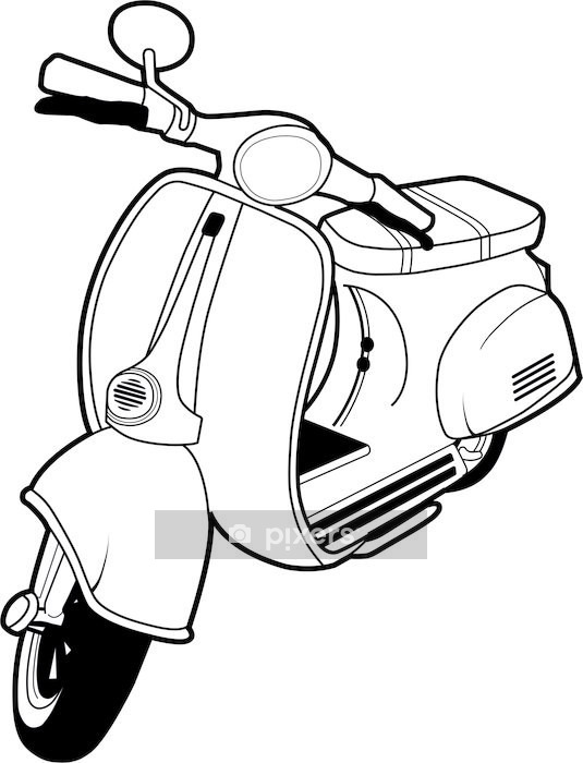 Vinilo para Pared Vespa Scooter Mod - Vinilo para pared