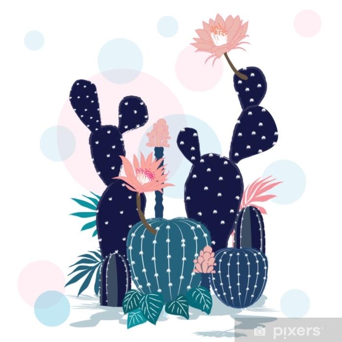 Naklejka Pixerstick Piękna kolekcja kaktusów. szkicowy styl ilustracji. - Religia i kultura