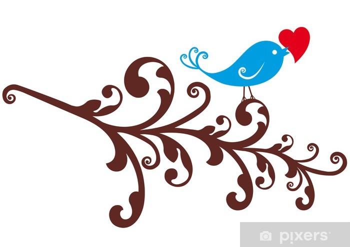 Papier peint vinyle Oiseau d'ornement avec coeur rouge - Bonheur