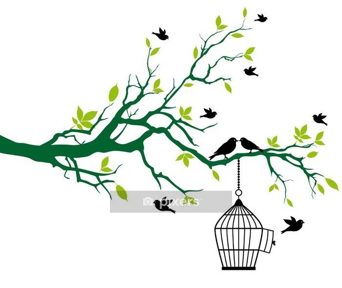 Adesivo da Parete Primavera albero con gabbia e uccelli baciare - Alberi e foglie