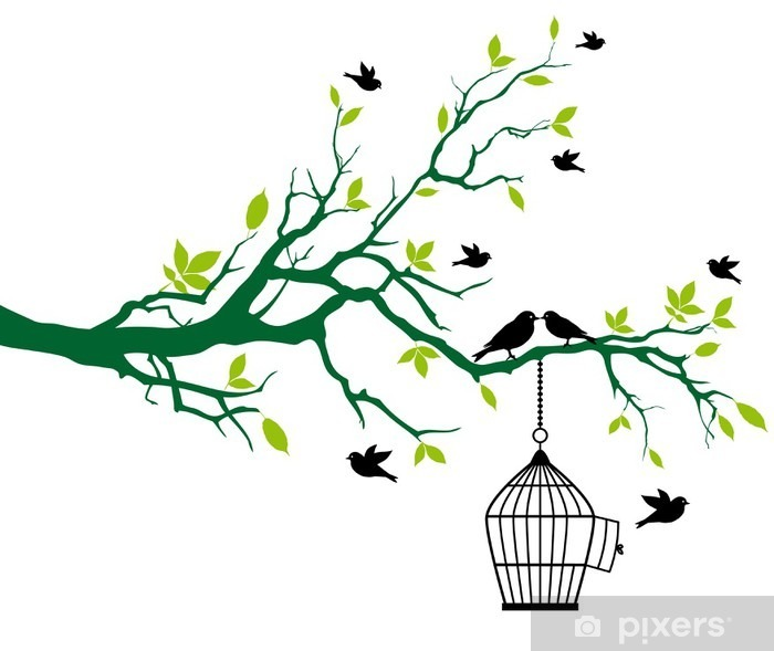 spring tree with birdcage and kissing birds Vinyl Wall Mural - Trees and leaves