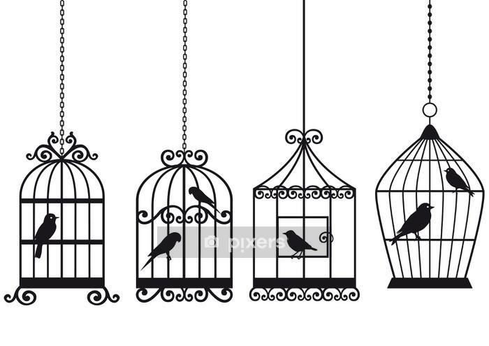Veggklistremerke Vintage fuglkaker med fugler - Styles