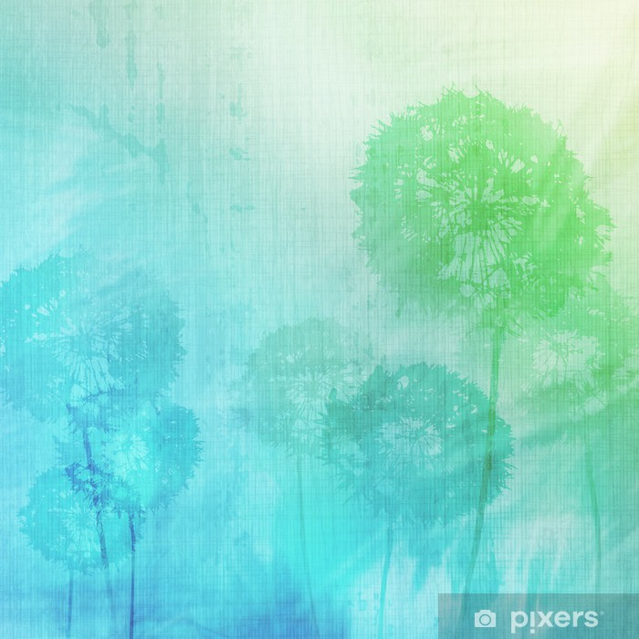 grunge background with dandelions Vinyl Wall Mural - Nature