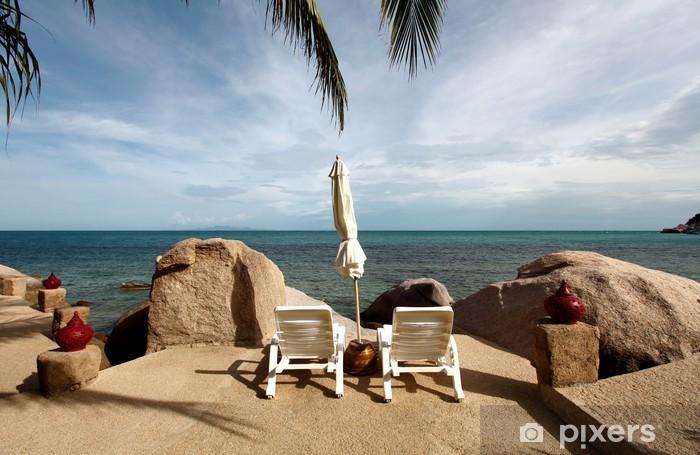 Vinyl-Fototapete Lounge Stühle auf den Felsen - Urlaub