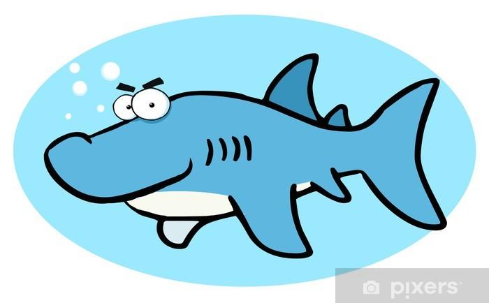 Sticker Pixerstick Illustrations de dessin animé de sourire de requin - Sticker mural