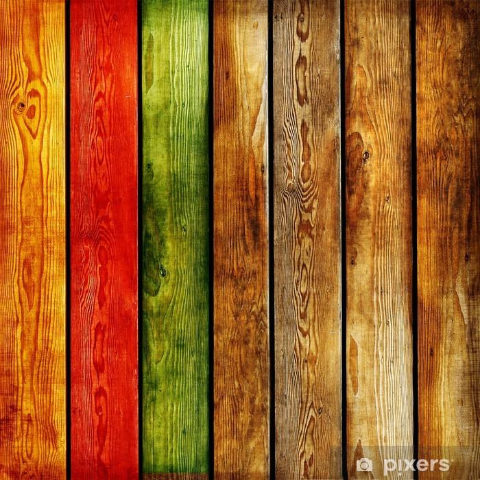 Kaststicker Gekleurde houten planken -abstract achtergrond -