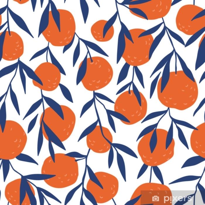 Naklejka Pixerstick Tropikalny wzór z czerwonych pomarańczy. owoce powtarzane tło. wektor jasny druk na tkaninie lub tapecie. - Zasoby graficzne