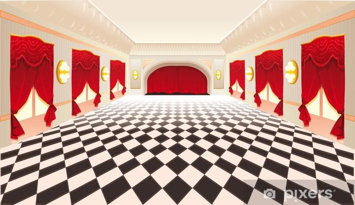 Vinyl Vloer Rood : Fotobehang binnenland met rode gordijnen en betegelde vloer