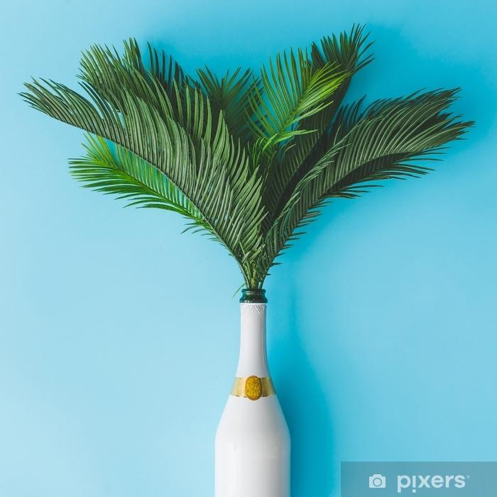 Adesivo Bottiglia Di Champagne Con Foglie Di Palma Verde Tropicale